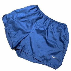 Nike Blue White Embroidered Check Running Shorts